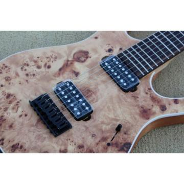 Custom Shop 7 String Birdseye  Natural Electric Guitar Black Machine