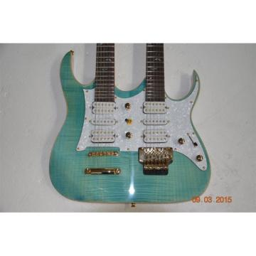 Custom JEM7V Flame Maple Top Sea Foam Green Double Neck 6/12 Strings Guitar