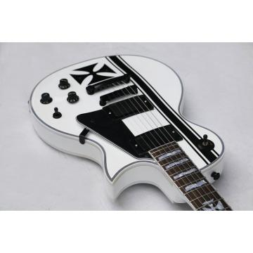 Custom ESP Metallica James Hetfield Iron Cross  Snow White w/ Stripes Graphic Guitar