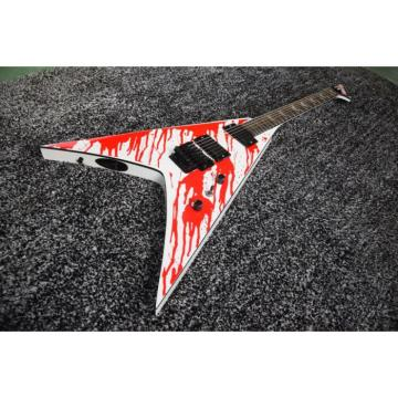 Custom Built Dan Jacobs Flying V ESP LTD Blood Spatter Guitar