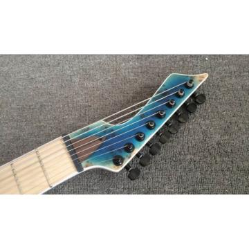 Custom Shop Black Machine 8 String Transparent Blue Maple Fretboard Guitar