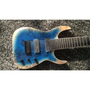 Custom Black Machine 8 String Natural Wood Black Electric Guitar
