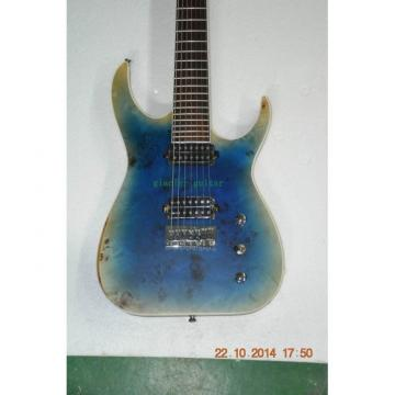 Custom Shop 7 String Transparent Blue Electric Guitar  Black Machine