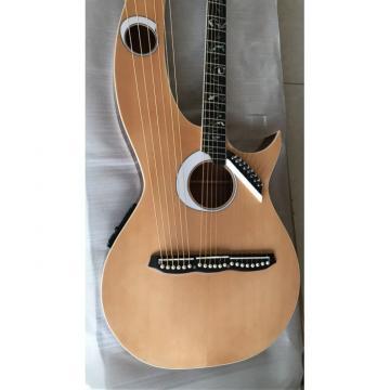 Custom Shop Natural Double Neck Harp Acoustic Guitar Logo