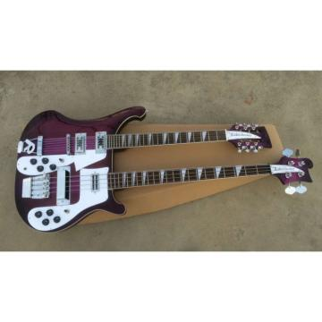 custom Double Neck Rickenbacker Purple 4 String Bass 12 String Guitar