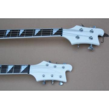 Custom Built 4080 Double Neck Geddy Lee White 4 String Bass 6/12 String Guitar