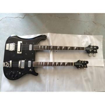 Custom 4080 Double Neck Geddy Lee Black 4 String Bass 6/12 String Option Guitar