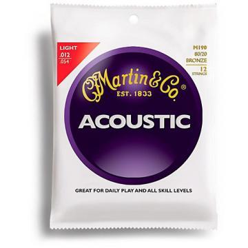 Martin M190 12-String 80/20 Bronze Light Acoustic Guitar Strings