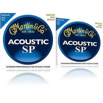 Martin MSP3200 SP 80/20 Bronze Medium 2-Pack Acoustic Guitar Strings