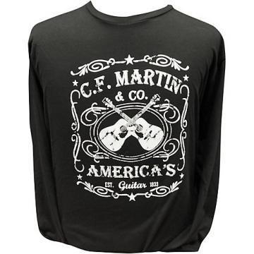 Martin America's Dual Guitar Logo - Long Sleeve Black T-Shirt XX Large