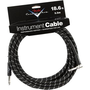 Fender Custom Shop Performance Series Right Angle Instrument Cable Black Tweed 18.6 ft.