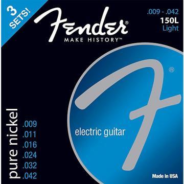 Fender 150L Nickel Ball End Light Guitar Strings, Gauges 9-42 (3-Pack)