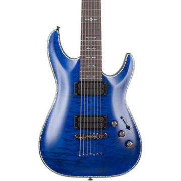 Schecter Guitar Research Hellraiser C-7 Passive Solid Body Electric Guitar Satin Transparent Midnight Blue