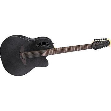 Ovation Elite 2058 TX 12-String Acoustic-Electric Guitar Black