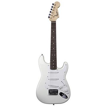 Squier by Fender Mini Strat Electric Guitar Bundle with Amplifier, Cable, Tuner, Strap, Picks, Austin Bazaar Instructional DVD, and Polishing Cloth - Arctic White