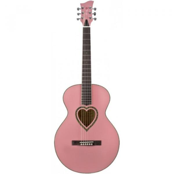 Jay Turser JJ-Heart Series Acoustic Guitar Pink #1 image