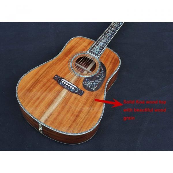 Custom Handmade Deluxe Dreadnought Solid Koa Wood Acoustic guitar #5 image