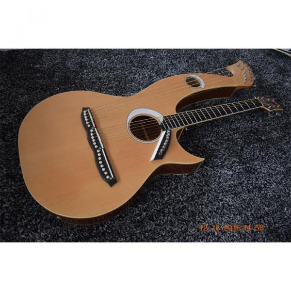 Custom Built 6 6 8 String Acoustic Electric Double Neck Harp Guitar #2 image