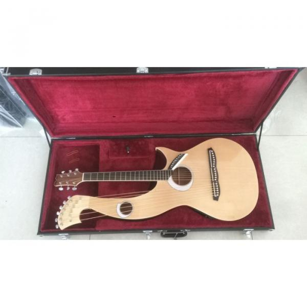 Custom 6 6 8 String Acoustic Electric Double Neck Harp Guitar #1 image