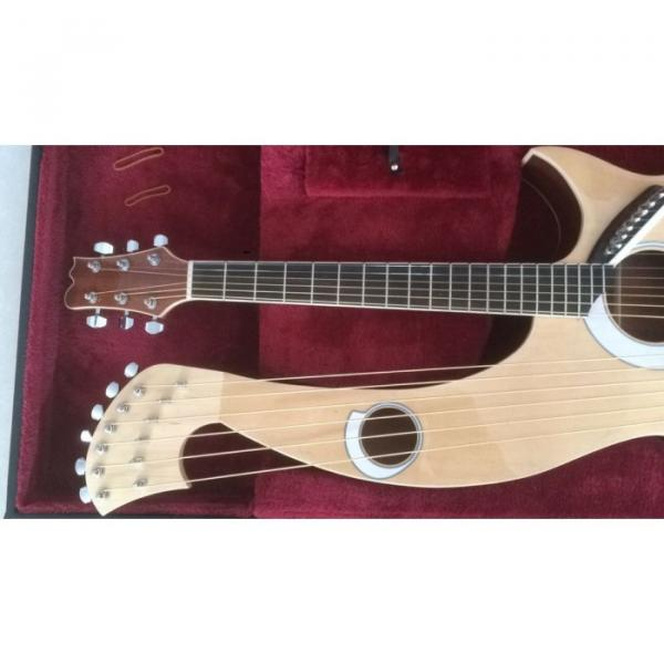 Custom 6 6 8 String Acoustic Electric Double Neck Harp Guitar #4 image