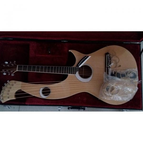 Custom 6 6 8 String Acoustic Electric Double Neck Harp Guitar #5 image