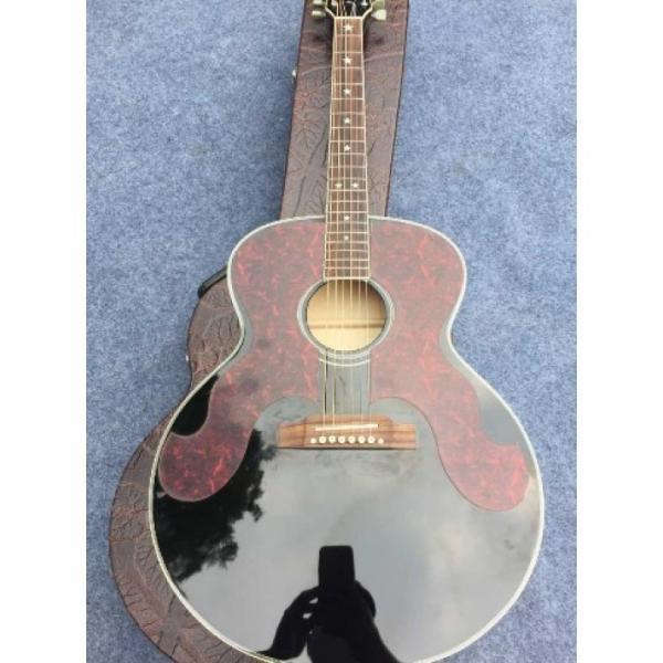 Custom J180 6 Strings Black Pearloid Pickguard Star Inlays Acoustic Guitar #1 image