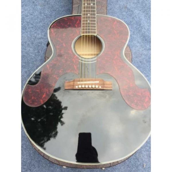 Custom J180 6 Strings Black Pearloid Pickguard Star Inlays Acoustic Guitar #2 image