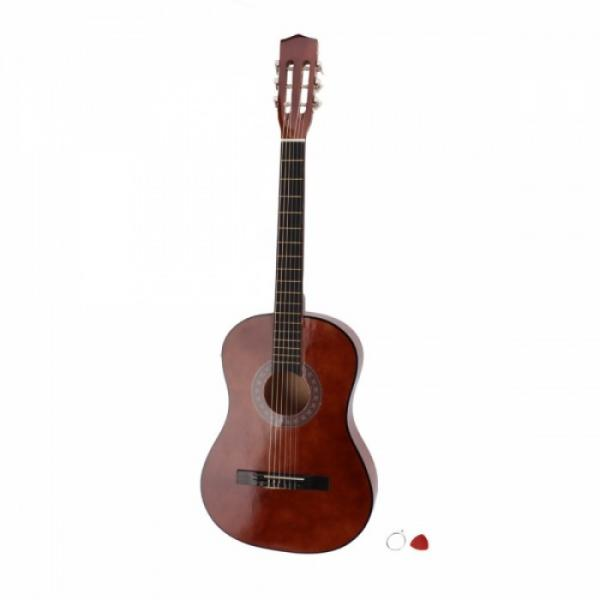 """38"""" Classical Acoustic Guitar Brown with Extra Guitar Tuner, 38"""" Bag, 5 x Alice Picks, Strap, Guitar Strings Set #4 image"""