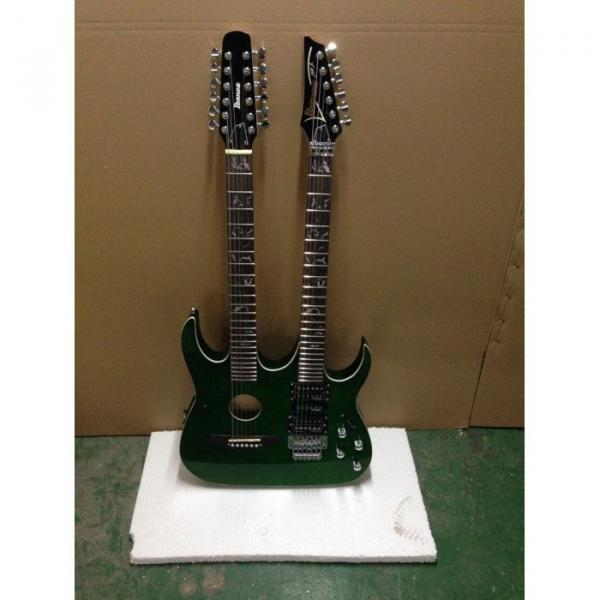 Custom Ibanez JEM 7V Green Double Neck Acoustic Electric 6 12 Strings Guitar #1 image