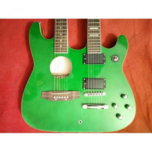 Custom Ibanez JEM Green Double Neck Acoustic Electric 6 6 Strings Guitar #3 image
