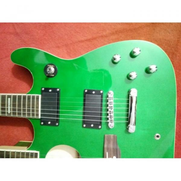 Custom Ibanez JEM Green Double Neck Acoustic Electric 6 6 Strings Guitar #4 image