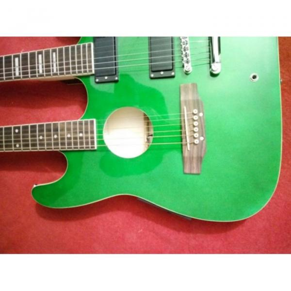 Custom Ibanez JEM Green Double Neck Acoustic Electric 6 6 Strings Guitar #5 image