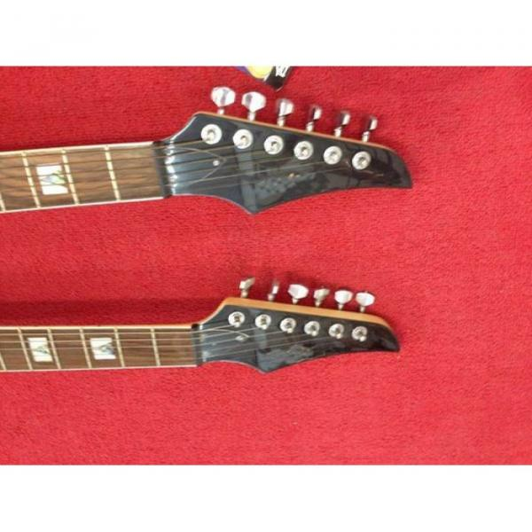 Custom Ibanez JEM 7V Sunburst Double Neck Acoustic Electric 6 6 Strings Guitar #2 image