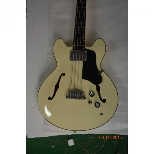 Custom Shop Cream Arctic White Midtown 4 String Fhole Semi Hollow Bass #1 image