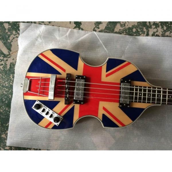 Custom Hofner Jubilee Union Jack Paul Mcartney Violin Bass Guitar #1 image