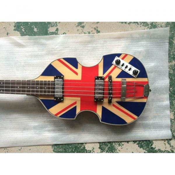 Custom Hofner Jubilee Union Jack Paul Mcartney Violin Bass Guitar #3 image