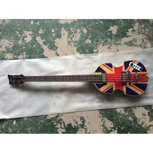 Custom Hofner Jubilee Union Jack Paul Mcartney Violin Bass Guitar #4 image