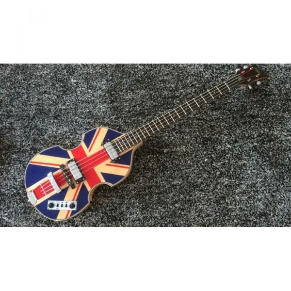 Custom Hofner Jubilee Union Jack Paul Mcartney Violin 4 String Bass Guitar #1 image