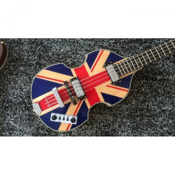Custom Hofner Jubilee Union Jack Paul Mcartney Violin 4 String Bass Guitar #3 image