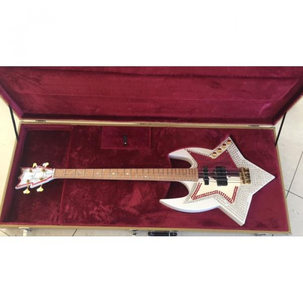 Custom Built Washburn White Bootsy 4 String Bass With Crystals LED Star Inlays #1 image