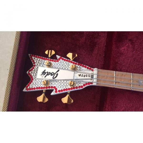 Custom Built Washburn White Bootsy 4 String Bass With Crystals LED Star Inlays #5 image