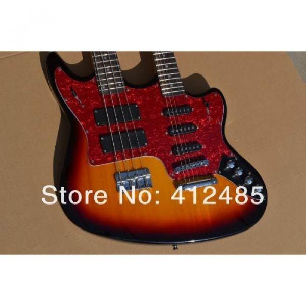 Custom Built Double Neck Fender Jaguar Sunburst 4 String Bass 6 String Guitar #1 image