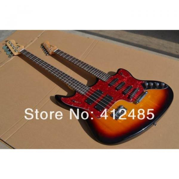 Custom Built Double Neck Fender Jaguar Sunburst 4 String Bass 6 String Guitar #3 image