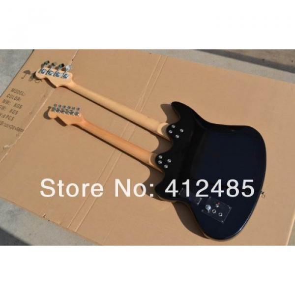 Custom Built Double Neck Fender Jaguar Sunburst 4 String Bass 6 String Guitar #4 image