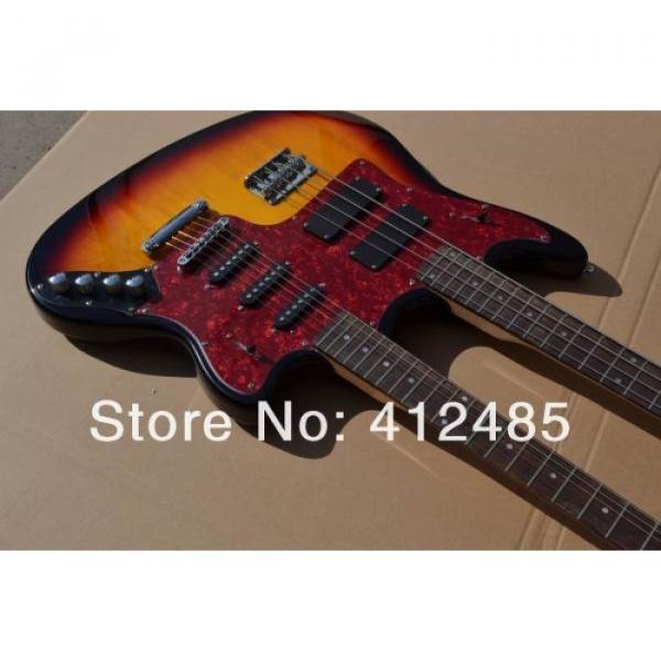 Custom Built Double Neck Fender Jaguar Sunburst 4 String Bass 6 String Guitar #5 image