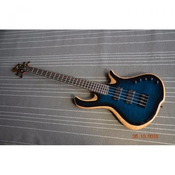 Custom Built Blue Flame Maple Top 4 String Bass #1 image