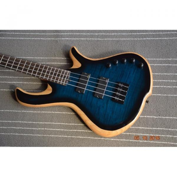 Custom Built Blue Flame Maple Top 4 String Bass #2 image