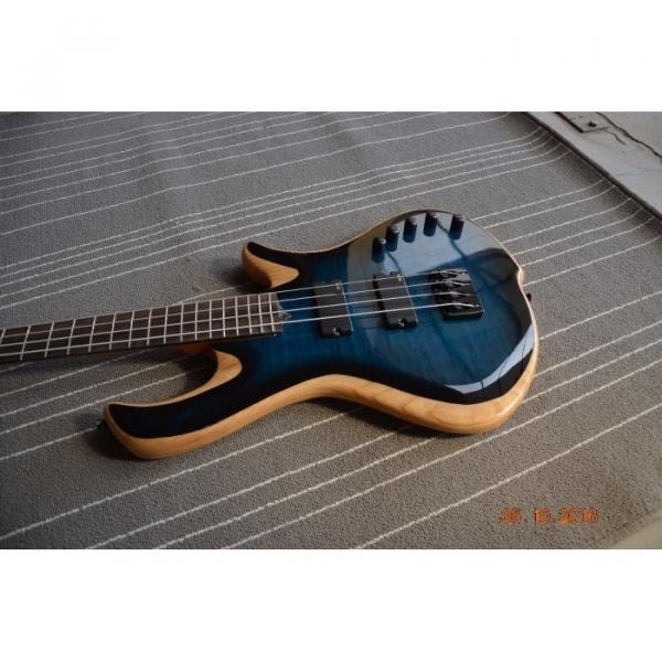 Custom Built Blue Flame Maple Top 4 String Bass #4 image