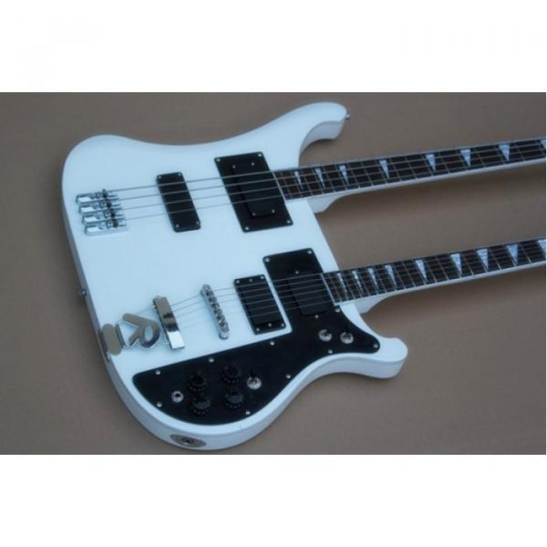Custom Built 4080 Double Neck Geddy Lee White 4 String Bass 6/12 String Guitar #5 image