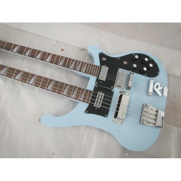 Custom 4003 Double Neck Rickenbacker Light Blue 4 String Bass 6 String Guitar Bolt On #1 image